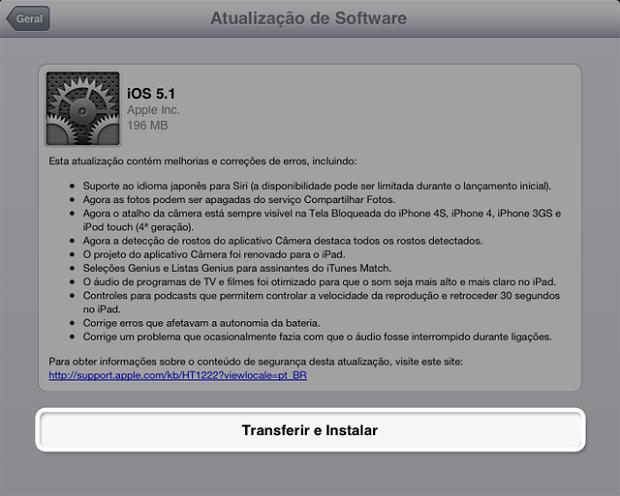 Instalando a atualização para o novo iOS (Foto: Reprodução/Edivaldo Brito)
