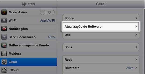 Iniciando a atualização de software no iPad (Foto: Reprodução/Edivaldo Brito)