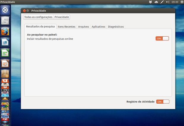 """Dicas de coisas para fazer depois de instalar o Ubuntu 13.04 parte 3 – Modificando as configurações de privacidade e desativando a """"Shopping Lens"""""""