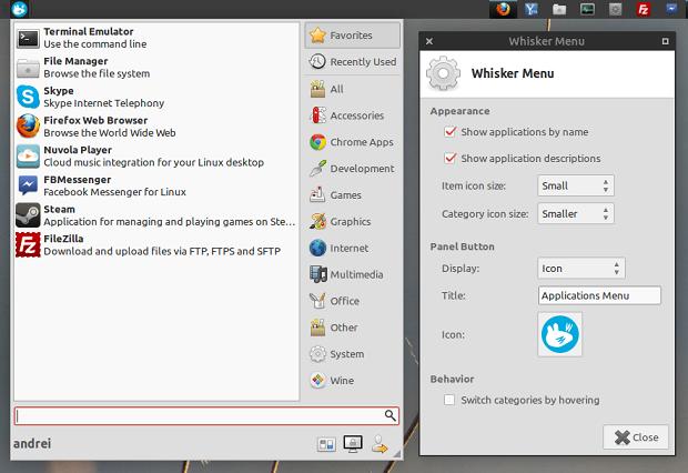 Atualização do Whisker Menu traz suporte para abrir o menu usando um atalho de teclado e outros aprimoramentos