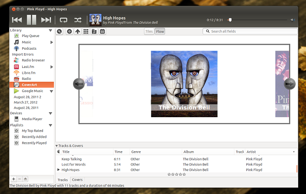Instale o plugin Coverart Browser e transforme o Rhythmbox em novo player