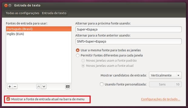 Como remover o indicador de teclado no Ubuntu