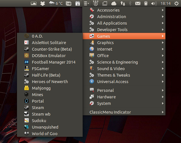 Instale o Classic Menu Indicator no Ubuntu
