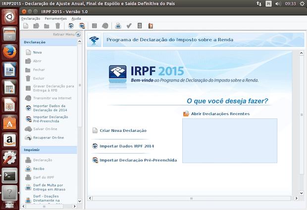 versão multiplataforma do IRPF no Linux