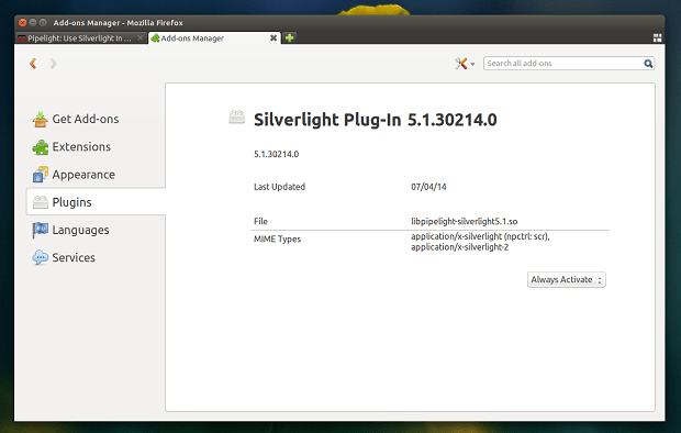plugin flash silverlight no linux