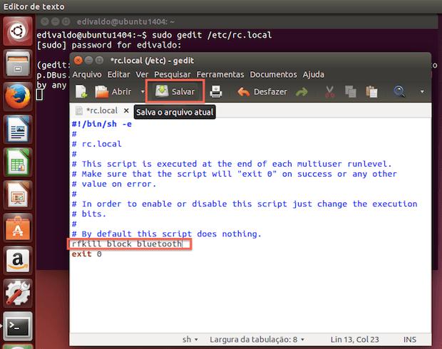 Como configurar o Ubuntu para iniciar com o Bluetooth desligado