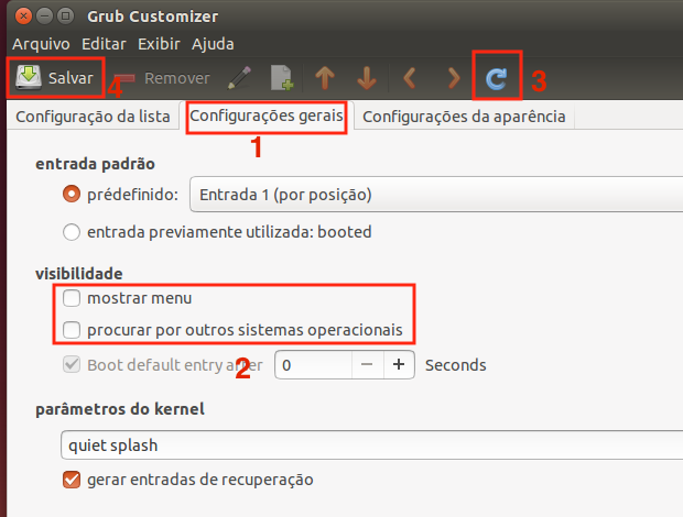 Como esconder o menu de inicialização do Grub