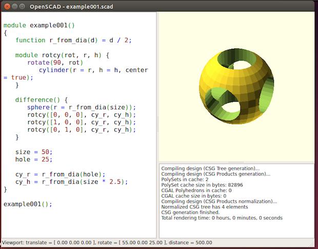 Criação de objetos 3D no Linux - instale OpenSCAD