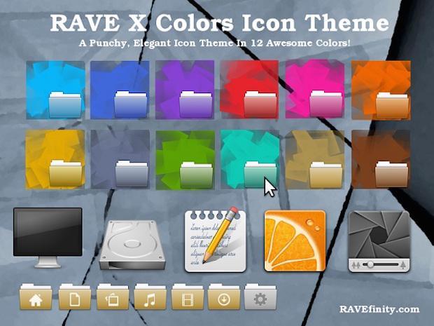 ícones Rave-X Colors Instalando o conjunto de ícones Rave-X Colors no Ubuntu