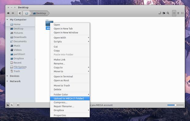 extensão megasync para o gerenciador de arquivos Nemo