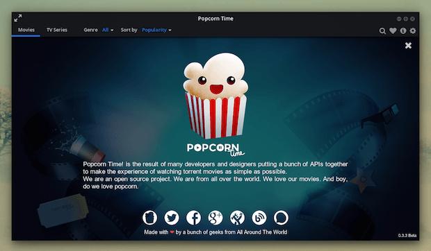 Lançado Popcorn Time 0.3.3 com suporte para tocadores de mídia externos e Chromecast