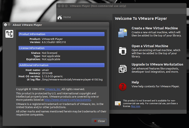 vmware player no linux