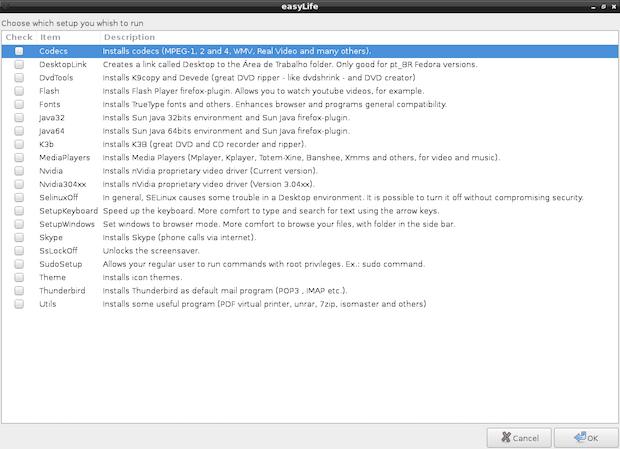 Gerenciamento de programas com easyLife no Fedora