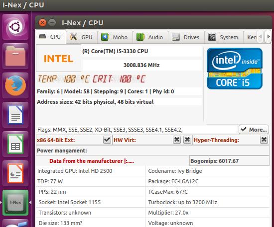 Informações de hardware: Instale i-Nex no Ubuntu e derivados