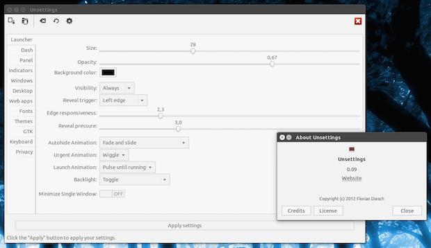 ferramenta de configuração do ambiente Unity unsettings