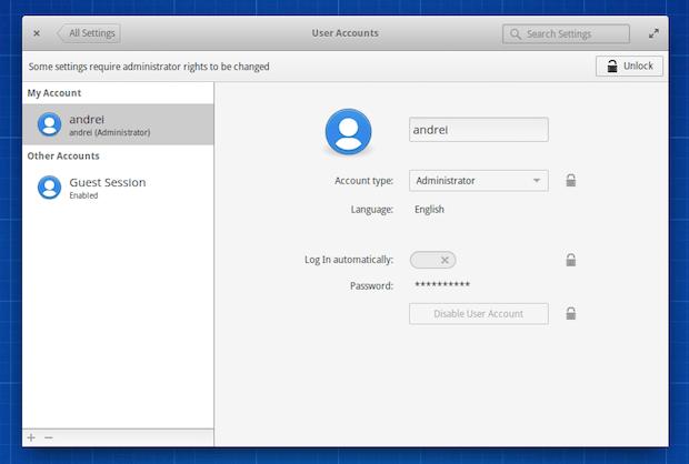 Elementary OS Freya Contas de usuário