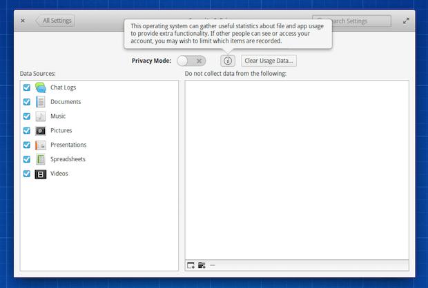 Elementary OS Freya Modo de privacidade