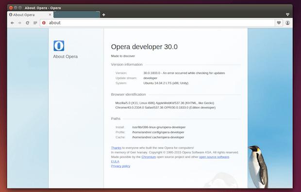opera developer para linux 32 bits