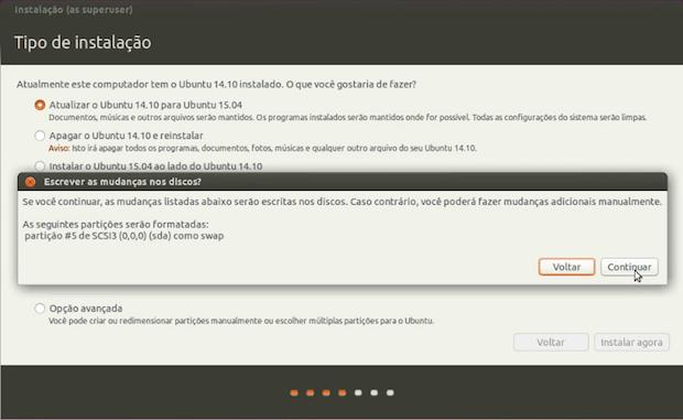 atualizar para o Ubuntu 15.04 usando o disco