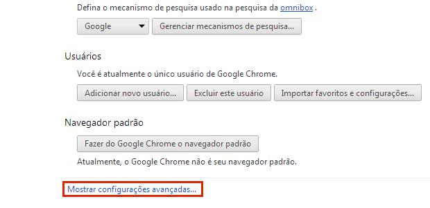 clique na opção Mostrar configurações avançadas…