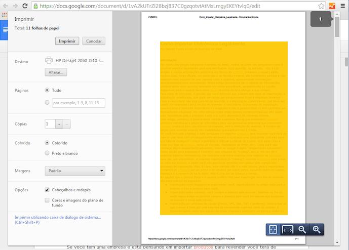 Imprimindo em uma impressora no Google Cloud Print