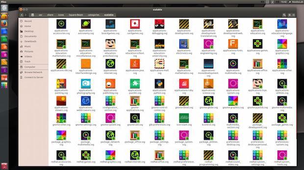 Instalando o conjunto de ícones Square-Beam no Ubuntu