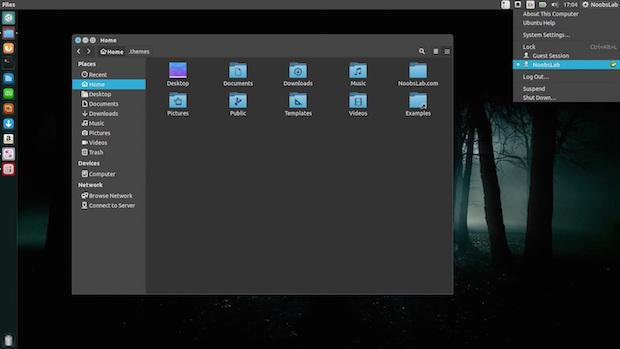 Instalando o conjunto de temas Ambiance Blackout Flat Colors