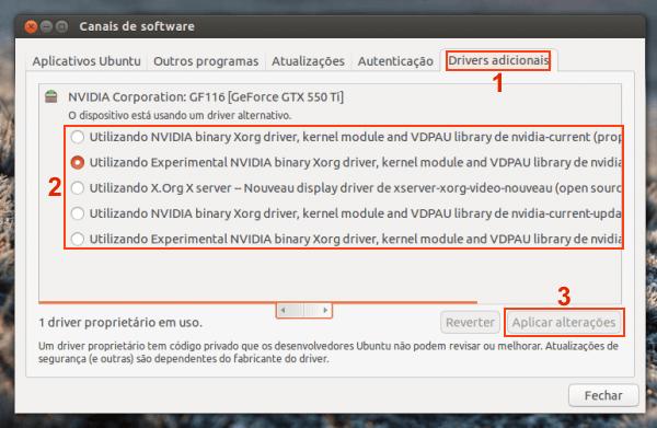 Como ativar um driver proprietário no Ubuntu