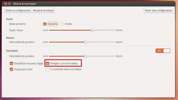 Como ativar o scroll com dois dedos no touchpad no Ubuntu