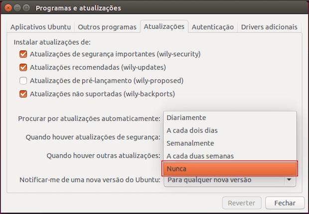 Como desativar as atualizações automáticas no Ubuntu