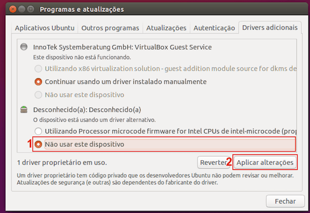 Como desativar driver proprietário no Ubuntu