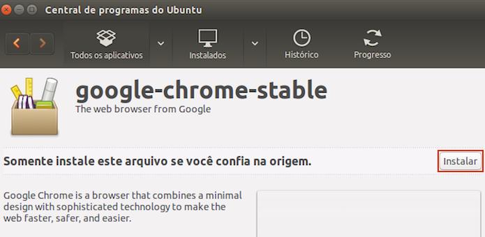 Iniciando a instalação do Google Chrome