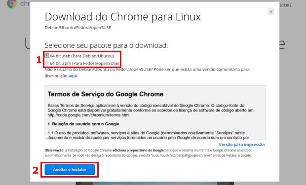Escolhendo o pacote deb do Chrome para instalar