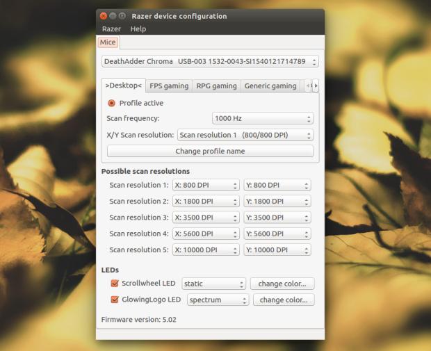 Configure mouse Razer no Linux com o Razercfg
