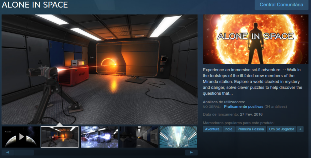 Experimente o jogo Alone In Space no Linux via Steam