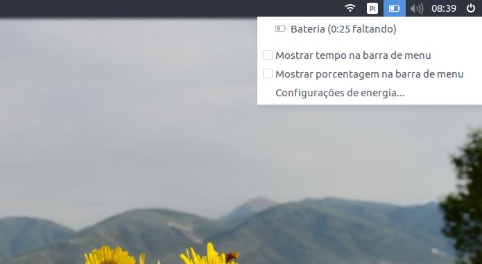 Como mostrar o percentual de uso e o tempo restante da bateria no painel do Ubuntu