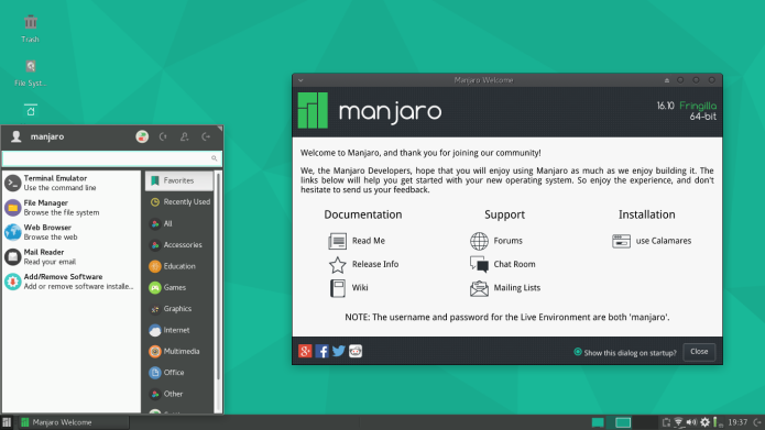 Manjaro Linux 16.10 já está disponível para download