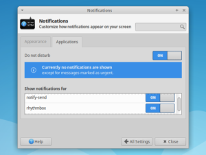 Xfce ganhou uma opção 'Não perturbe' para suprimir notificações por um tempo