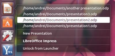 Como adicionar uma quicklist de arquivos recentes no Lançador do Unity