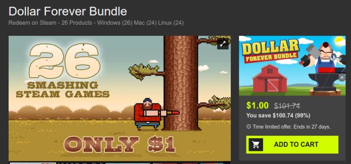 Compre 26 jogos do Steam por apenas um dólar