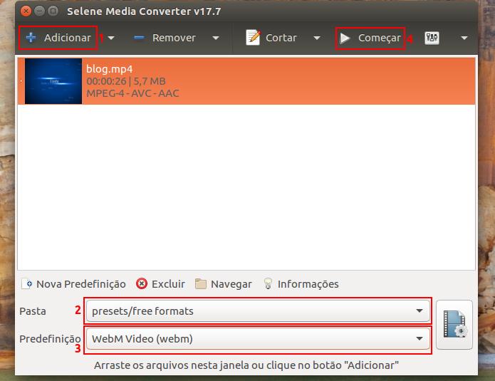 Converta arquivos multimídia com Selene Media Encoder no Ubuntu, Debian e derivados