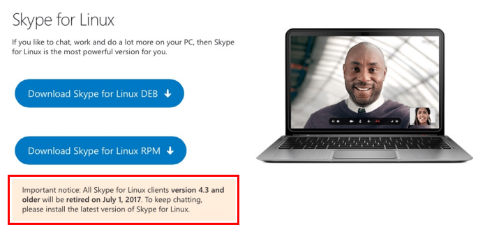 Versões antigas do Skype para Linux pararão de funcionar em julho