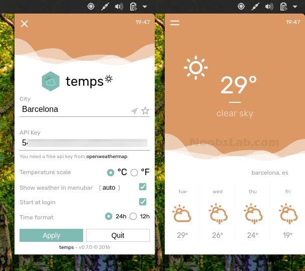 Como instalar o app de previsão do clima Temps manualmente