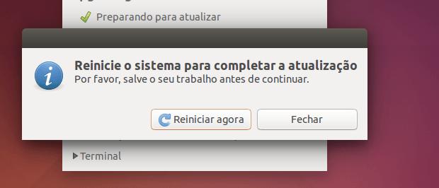 reiniciando o computador para concluir a atualização