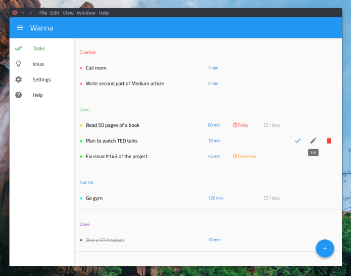 Como instalar o app de lista de tarefas Wanna no Ubuntu, Debian e derivados
