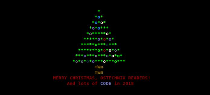 Como exibir uma árvore de natal animada no terminal