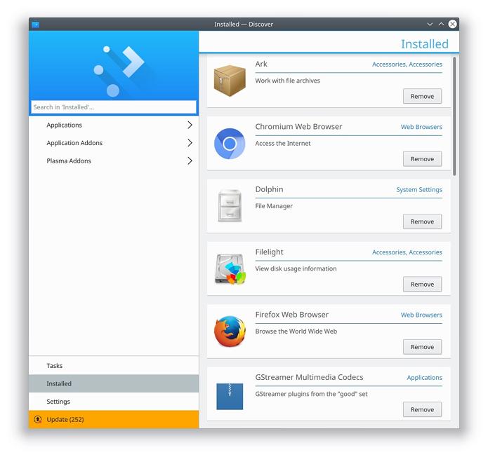 Discover, a Central de Programas do KDE recebeu melhorias - apps instalados