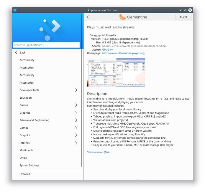 Discover, a Central de Programas do KDE recebeu melhorias - listagem