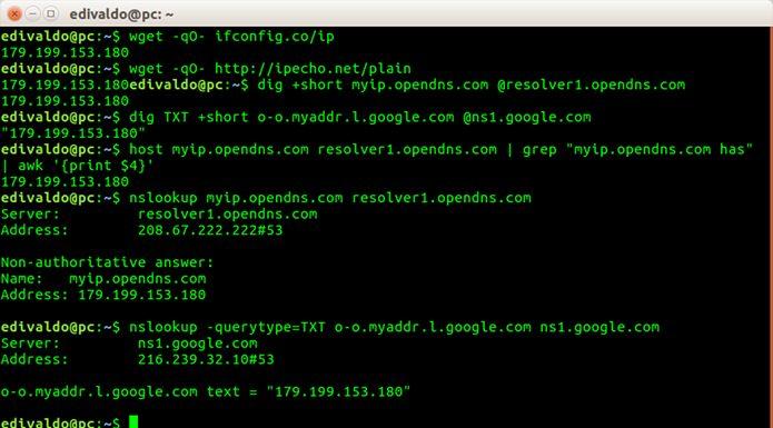 Como descobrir seu ip externo no Linux usando o terminal