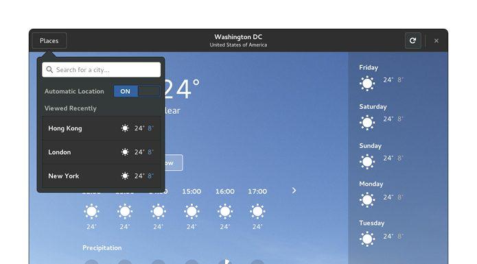 Como instalar o app GNOME Weather no Linux via Flatpak